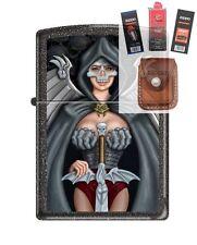 Zippo 211 Skull Woman Warrior Lighter + FUEL FLINT WICK POUCH GIFT SET