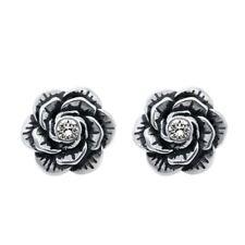 Rose Earrings Bloom Flower Stainless Steel w Swarovski Crystals Jewelry Controse