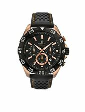 Accurist 7049.01 Men's Black Strap Chronograph Rose Gold Plated Watch New
