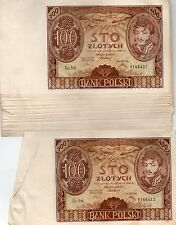 37 Consecutive Numbers UNC 100 Zlotych Zloty 9 Nov 1934 Banknotes Poland