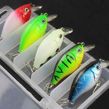 5x Fishing Lures Kinds Of Minnow Fish Bass Tackle Hooks Crank Baits Crankbaits