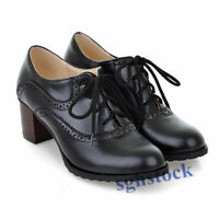 Brogue Women's Lace Up Retro Mid Chunky Heels Oxford Wing Tip leisure Shoes Size