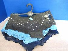 LADY PRINCESS~Blue & Gray Polka Dot BIKINI PANTIES ~3 Pack~Womens Large~NWT
