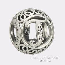 Authentic Pandora Sterling Silver Vintage T Clear CZ Bead 791864CZ