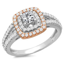 0.95 Carat Two Tone Rose Gold Plated 14K Gold Diamond Engagement Ring Size 10