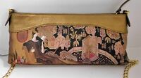 Icon Handpainted and Bronze Leather Gold Chain Clutch Crossbody Bag