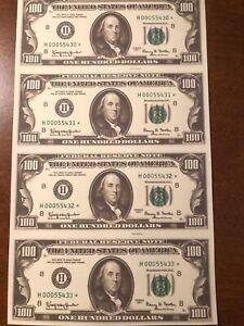 Copy 1977 $100 Uncut Reproduction Currency Money Sheet