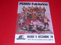 COLL.J. LE BOURHIS AFFICHES/ PEROU FOLCLORICO 1978 La Rochelle Musiques du Monde