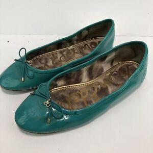 "Sam Edelman ""Felicia"" A4085LV418 Patent Leather Turquoise Ballet Flats 8 M SH8"