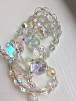 Vintage 1950s aurora borealis facetted graduated necklace wedding Quality Bridal