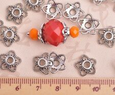 50pcs 10mm Tibetan Silver Flowers Caps Charm Loose Spacer Beads Jewelry Findings