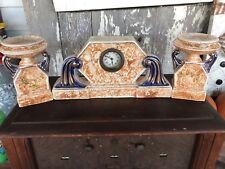 Antique Clock & Candlesticks Set Art Deco Majolica Wasmuel Peach & Blue