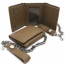Trifold Light Brown Genuine Leather Scale Texture Snap Button Wallet w/ Chain
