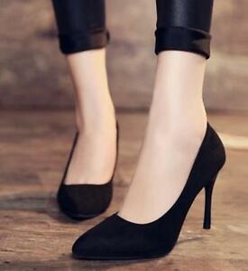 Chic Women's High Heels Pointed Toe Faux Suede Fashion Workwear Pumps Sexy Shoes