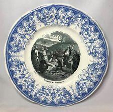 Creil Montereau Triumph of Jesus Christ Antique Catholic Christian Plate France