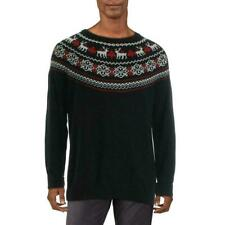 Charter Club Mens Sweater Black USA Size Large L Crew Reindeer Pullover $69 #319
