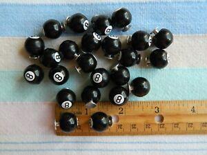 NOS 24 Vintage 8-BALL Pool Soda Pop Stud Tuxedo Black Plastic Buttons 1950's