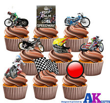 Speedway Motorbike Party Pack 36 Edible Cup Cake Toppers Birthday Mens Boys Son