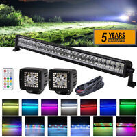 "32"" LED Light Bar + 2x 3"" Cube Pods 6000K White w/ RGB Halo Color Change Remote"