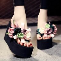 Womens Casual Beach Flip Flop Flower Sandals Slippers 11cm Platform Wedge Heels