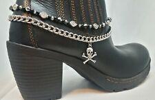 Boot Bling Bracelet Skull Crossbones Black Silver Chain Biker Halloween Goth