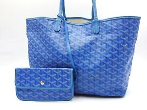 Auth GOYARD Saint Louis PM Shoulder Tote Bag PVC Canvas Leather Blue Pouch V7037