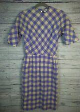 Toni Edwards Original 50s Purple Gingham Plaid Vintage Sheath Wiggle Dress Small