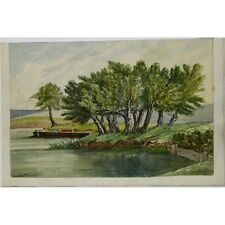 J Morgan Traditional River Willows Landscape Bristol c1810 Watercolour Painting
