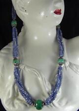 323Cts NATURAL TANZANITE & EMERALD FACETED BEADS NECKLACE STRAND