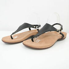 Vionic Kirra Thong Sandals Flats Womens 9.5 Wide Black Leather Back Strap