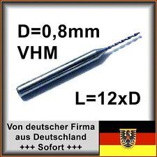VHM Bohrer mit 0,8mm Durchmesser, 12xd, Hartmetall, Platine