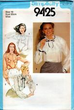 1970s Simplicity Sewing Pattern 9424 Misses Back Button Blouse Size 10