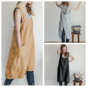 Women Bib Apron Cotton Linen Sleeveless Pinafore Dress Home Cooking Florist NEW