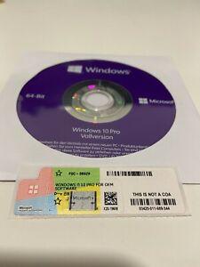 Windows 10 Professional 64Bit DVD + Win 10 Pro COA OEM Key, NEU