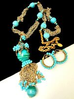 Miriam Haskell signed tropical island turquoise blue peach Coral and opalescent flash earrings