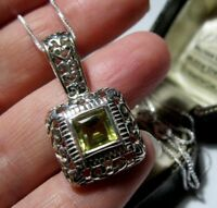 Beautiful Solid STERLING SILVER Natural Golden Yellow Topaz Pendant NECKLACE