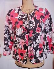 Womens Jacket Notations Kim Rogers Size PS Black Pink Floral Print Linen NWT