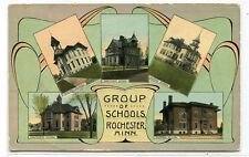 Group of Schools Rochester Minnesota 1912 postcard