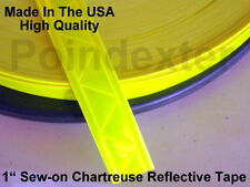 1 Inch Nylon Webbing Reflective Chartreuse Sew-on Tape, Sold By Yard, New