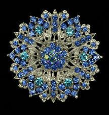 """2.25"""" LARGE BLUE RHINESTONE CRYSTAL FLOWER VINTAGE LOOK BROOCH"""