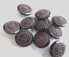 18 mm Decorative Black Golden plastic Buttons x 20