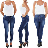 Blaue Slim Fit Skinny Damen Jeans Röhre Röhrenjeans Hose Hüft Stretch