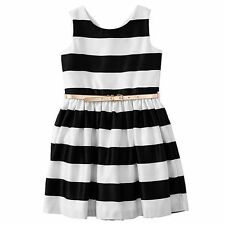 Stripe Gather Waist Lined Concealed zip on reverse Party Dress Size 1 RRP$25