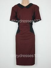 BNWT South Burgundy Optical Illusion Collared Pencil Dress Size 16 RRP £37