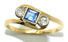 18ct Yellow Gold Blue Zircon and Two Diamond Dress Ring - Size Q