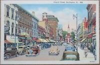 Burlington, VT 1940s Linen Postcard: Church Street / Downtown - Vermont