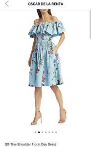Oscar De La Renta Blue Aqua Floral Print Off Shoulder Day Cocktail Dress 8 $1690