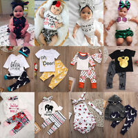 3pcs Toddler Newborn Baby Boy Girl T-shirt Tops+Pants Outfits Set Clothes lot