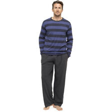 Mens Boys 2pc Long Sleeve Striped Pyjamas Set Lounge Blue Bottoms Pants  M-XXL