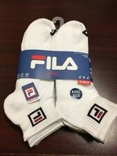 FILA Men's KING SIZE 6-Pair Quarter Crew Socks Shoe Size 13-15 White